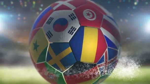 romania flag on a soccer ball football in stadium