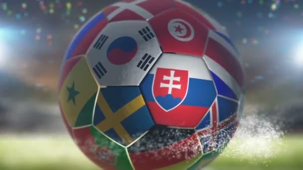 slovakia flag on a soccer ball football in stadium