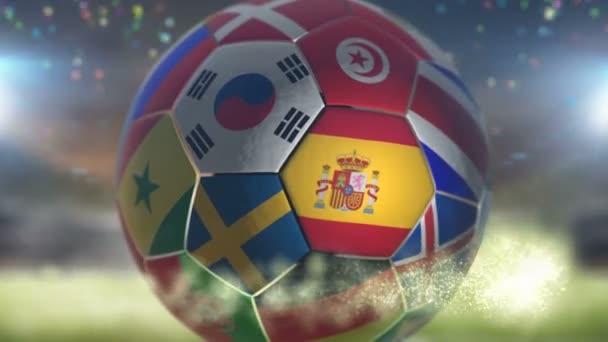spain flag on a soccer ball football in stadium