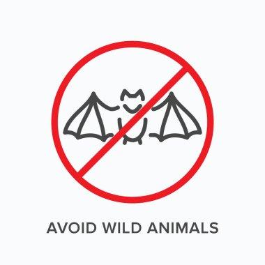 """Картина, постер, плакат, фотообои """"избегайте иконки линии диких животных. векторный контур иллюстрации остановки распространения коронавируса. перекрещенный знак летучей мыши, пиктограмма для предупреждения о заражении постеры картины бабочки"""", артикул 395205706"""