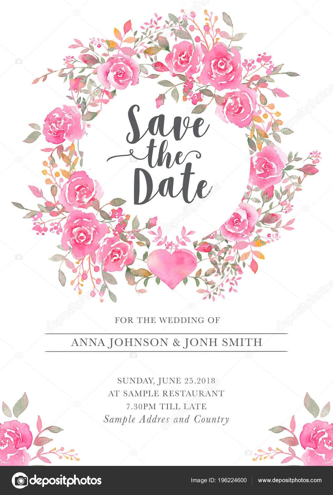 Hochzeit Einladung Kartenvorlage Mit Aquarell Rosenblüten Elegante  Romantische Postkarte Layout U2014 Stockfoto