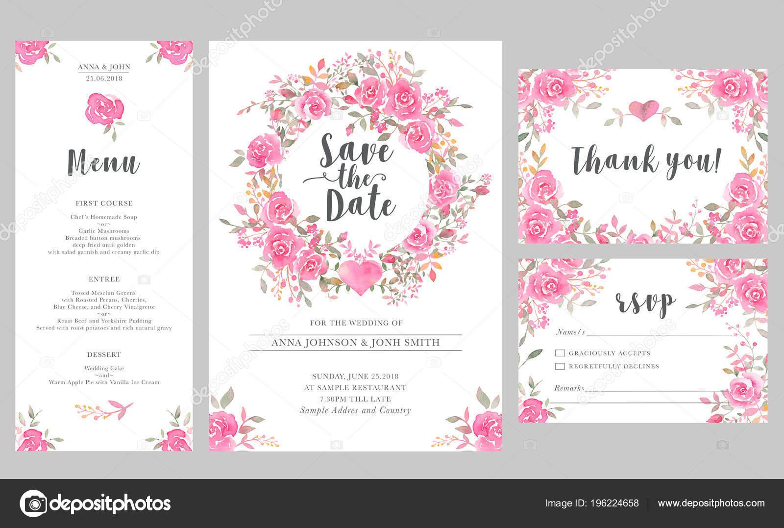Set Wedding Invitation Card Templates Watercolor Rose