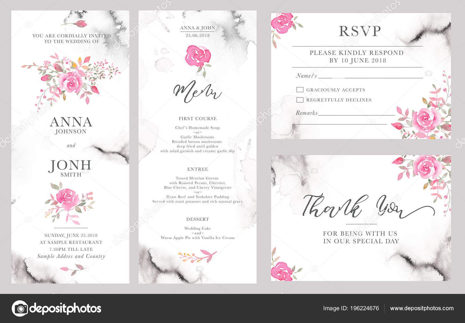 Set Wedding Invitation Card Templates Watercolor Rose Flowers Elegant Romantic Stock Photo