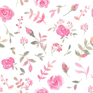 """Картина, постер, плакат, фотообои """"Hand drawn seamless pattern with watercolor rose flowers. Elegant romantic background with pink roses and leaves on a white background"""", артикул 196224698"""