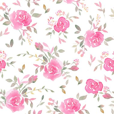 """Картина, постер, плакат, фотообои """"Hand drawn seamless pattern with watercolor rose flowers. Elegant romantic background with pink roses and leaves on a white background"""", артикул 196224702"""