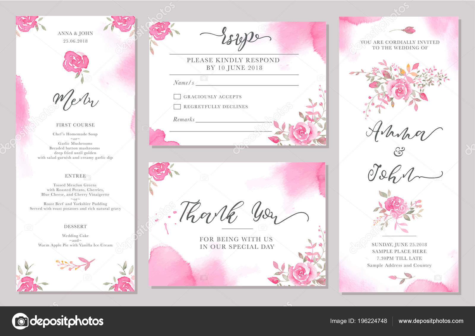 Set Wedding Invitation Card Templates Watercolor Rose Flowers ...