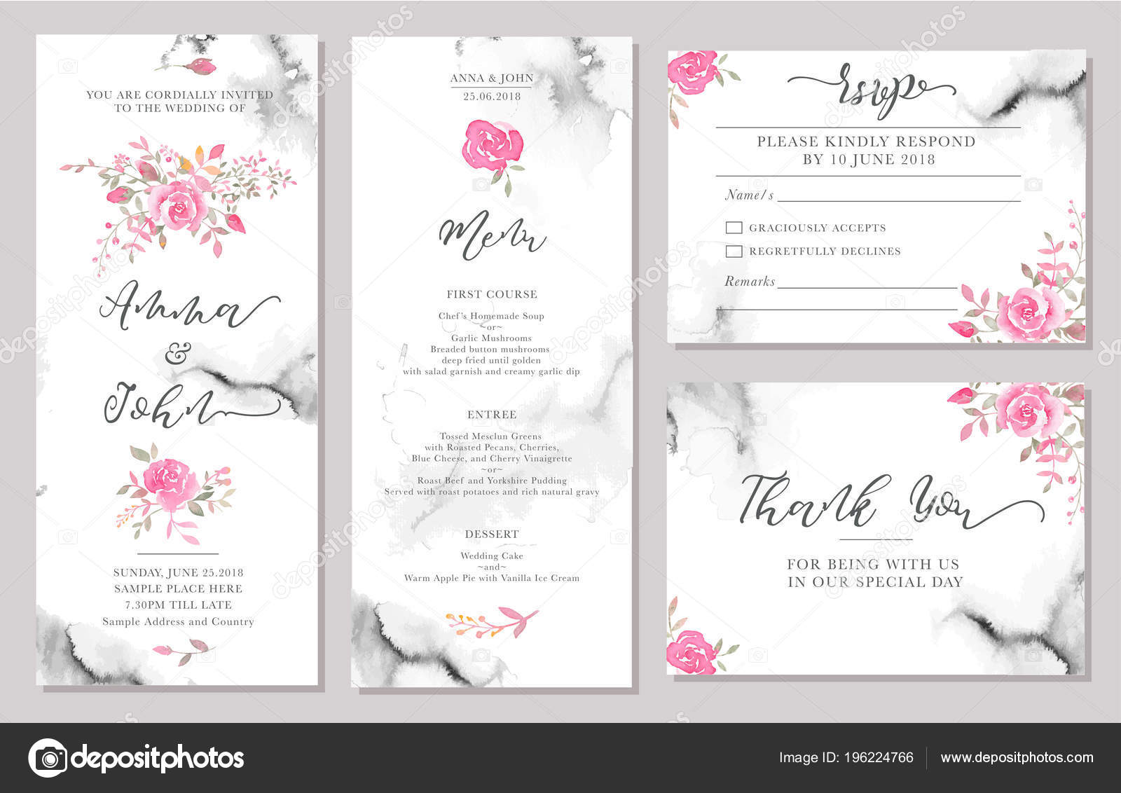 Wedding Invite Card Stock: Set Wedding Invitation Card Templates Watercolor Rose