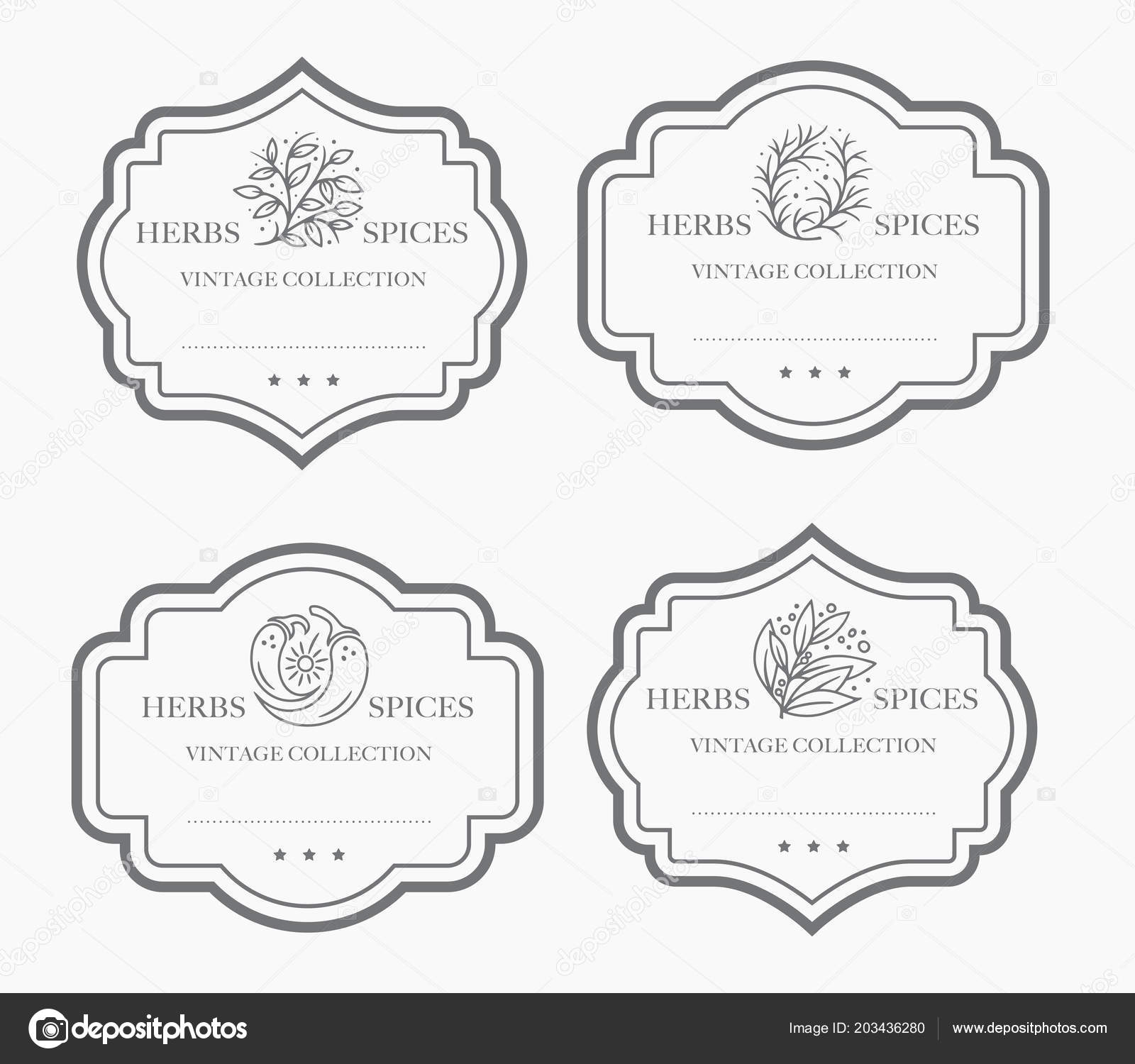 customizable black and white pantry label collection vintage packaging design templates for herbs and spices dried fruit vegetables nuts etc vector by