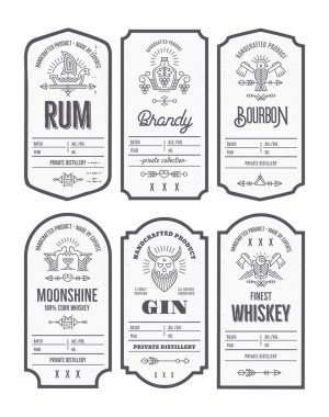 Set of vintage bottle label design with ethnic elements in thin line style. Alcohol industry emblem, distilling business. Monochrome, black on white. Editable text