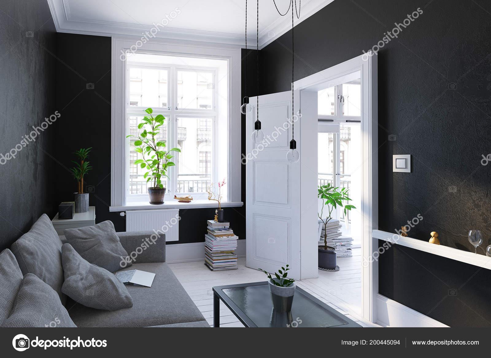 Schwarzes Wohnzimmer Interieur Skandinavischen Stil Render