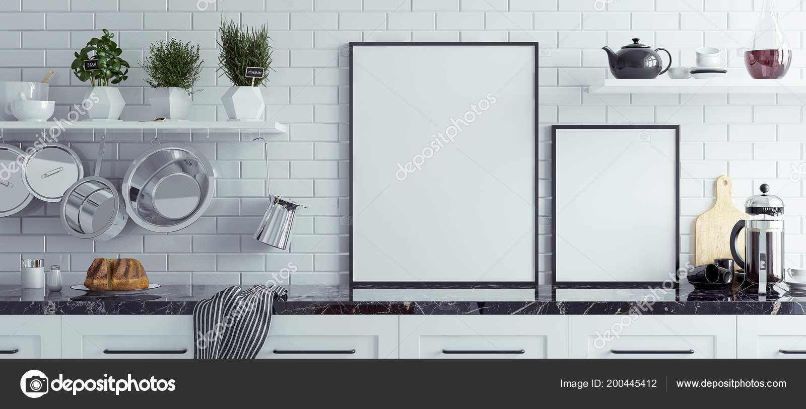 Mock Chalkboard Kitchen Interior Scandinavian Style Panoramic ...