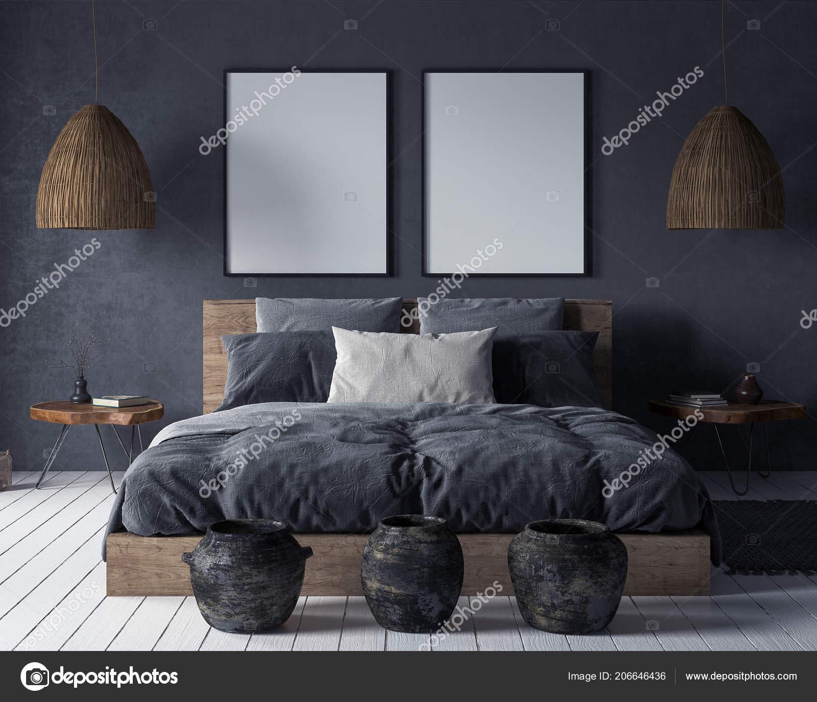 Mock Poster Schlafzimmer Innenraum Ethno Stil Render ...