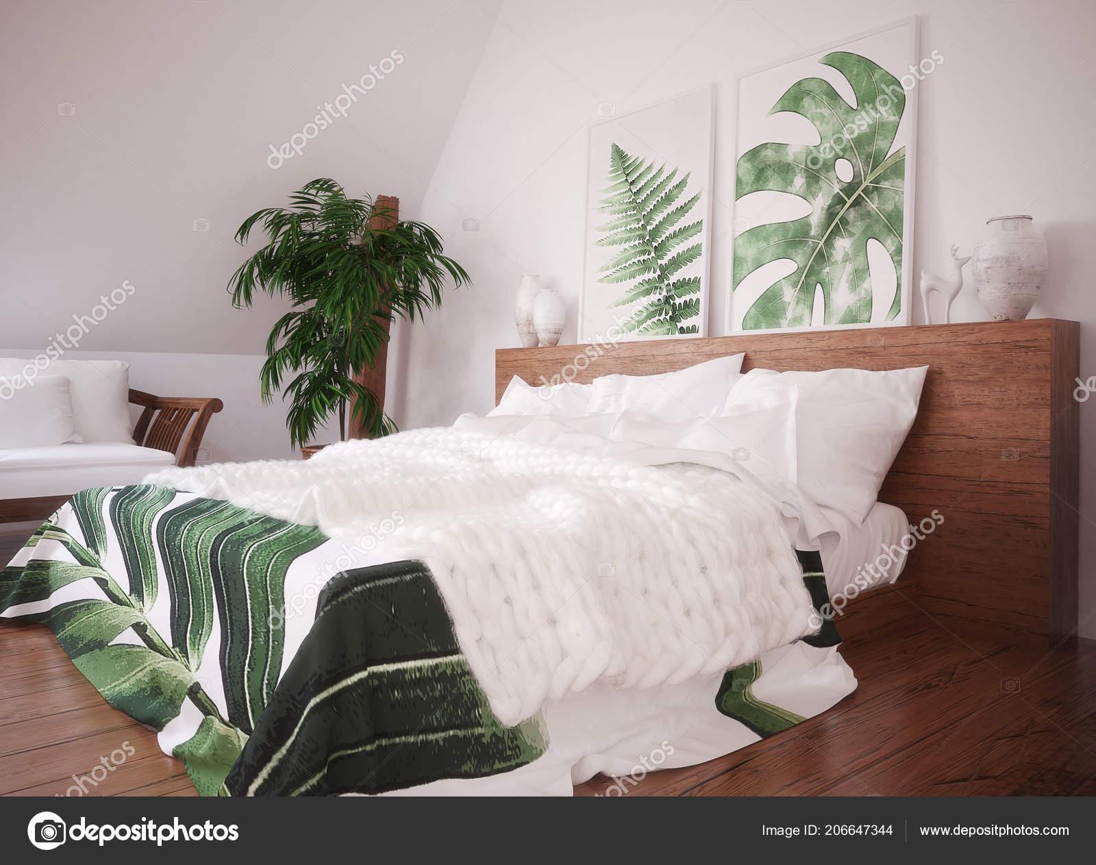 Intérieur Chambre Coucher Vintage Vert Rendu — Photographie ...