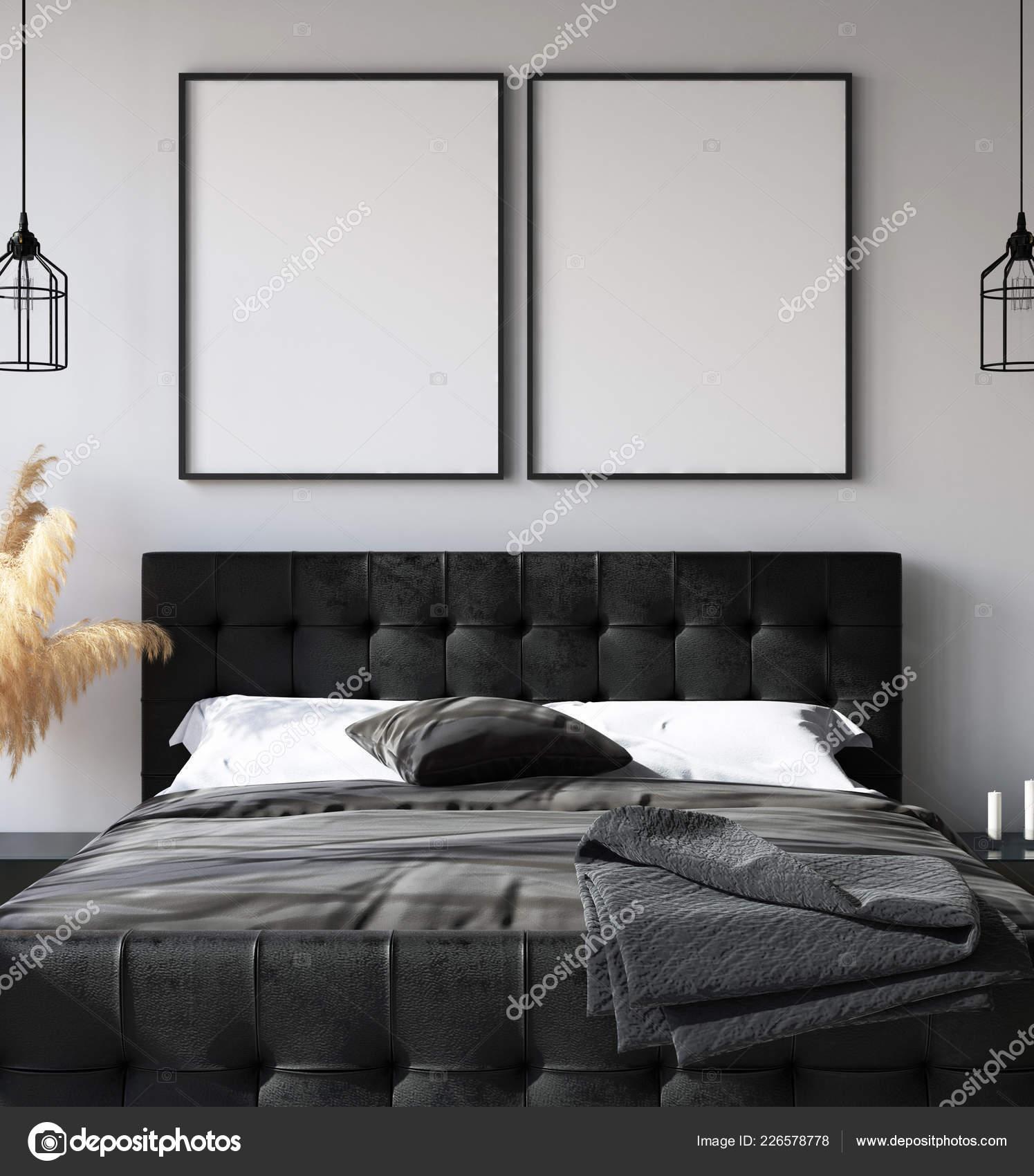 Intérieur Chambre Coucher Avec Maquette Affiche Style ...