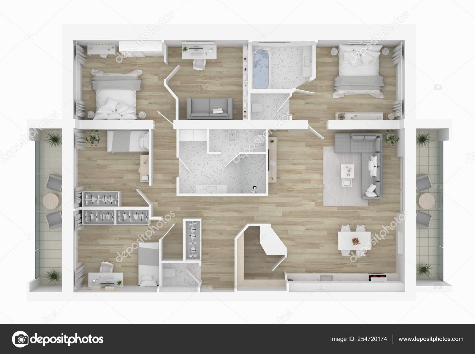 Floor Plan Home Illustration Open Concept Living Apartment Layout Stock Photo C Artjafara 254720174