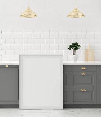 Mock up poster frame close-up in kitchen interior, 3d render