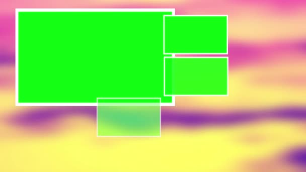 Green screen abstract  green squares in defocus colourful background, animation 2D design for montage. 4K.