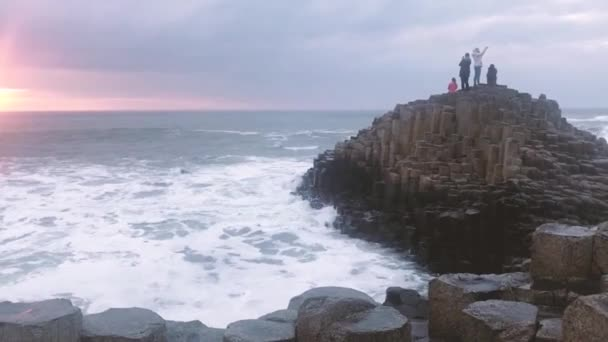Sunset Over Rocks Formation Giants Causeway, County Antrim, Northern Ireland
