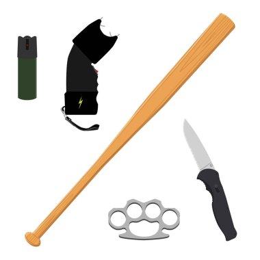 Raster bottle of pepper spray, knife, baseball bat, knuckles and taser isolated on white background.  Self defence weapon icon set