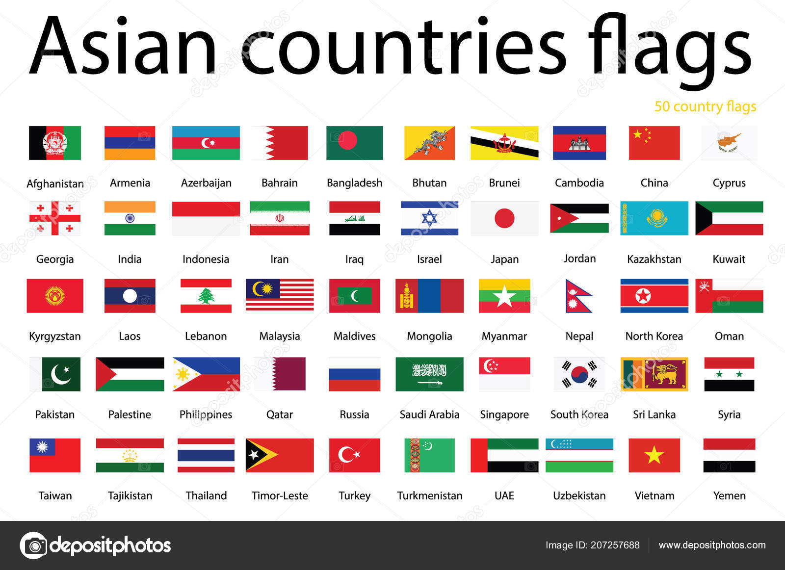 asian countries flags raster icons countries flags stock photo