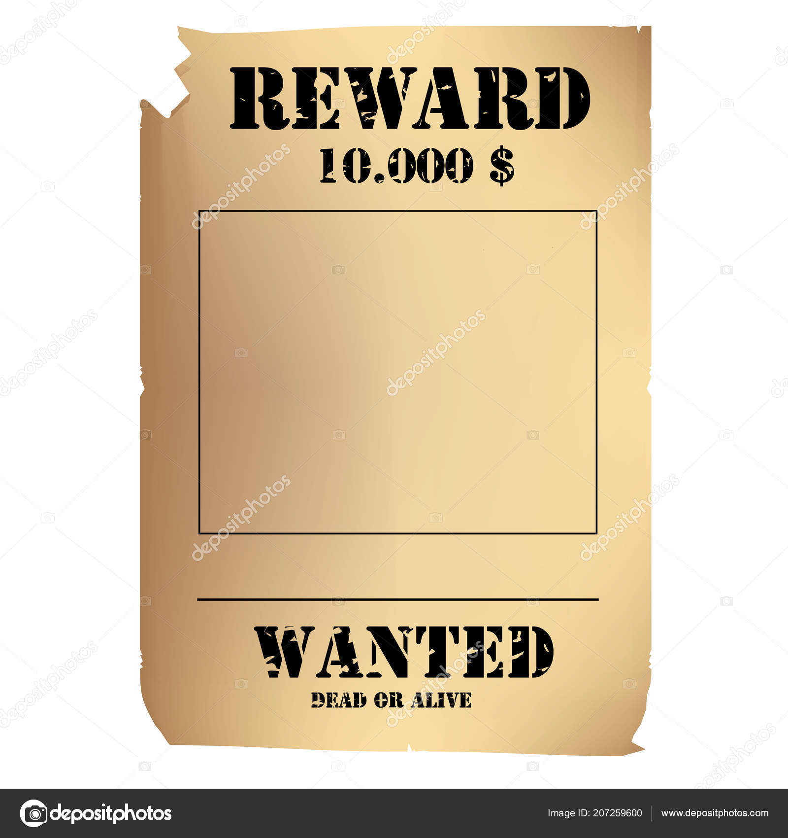 raster illustration vintage western wanted poster template wild west