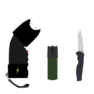 Raster bottle of pepper spray, knife and taser isolated on white background. Pepper gas spray, dagger and electoshock. Weapon icon set
