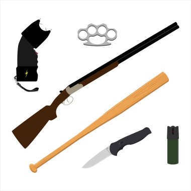 Raster bottle of pepper spray, knife, rifle, baseball bat, knuckles and taser isolated on white background.  Selfe defence weapon icon set