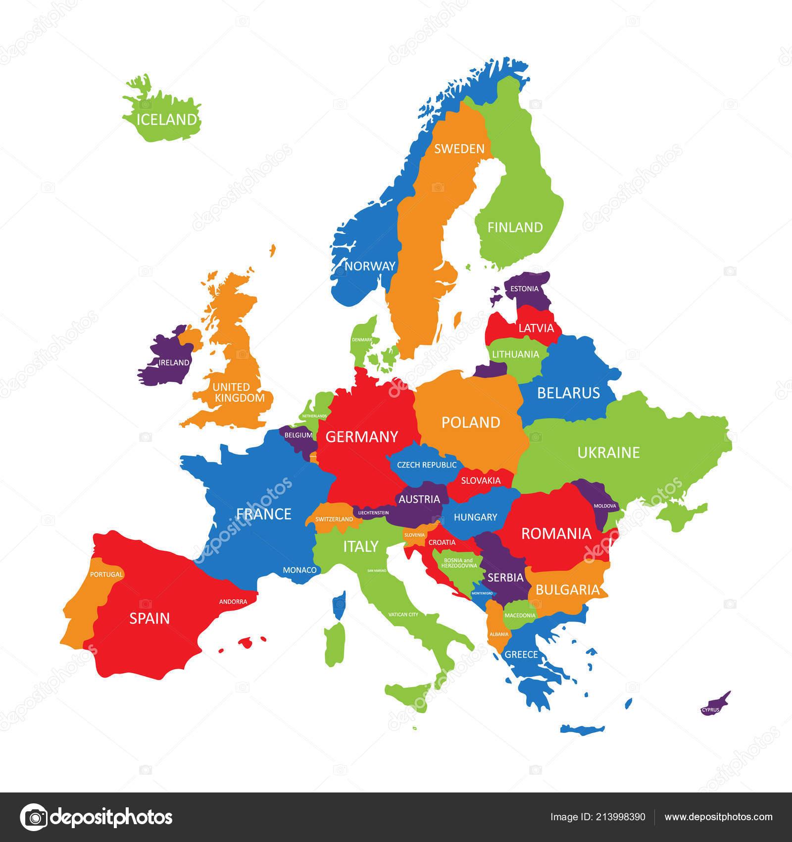Länder Europas Karte.Vektor Illustration Europa Karte Isolierten Auf Weißen Hintergrund