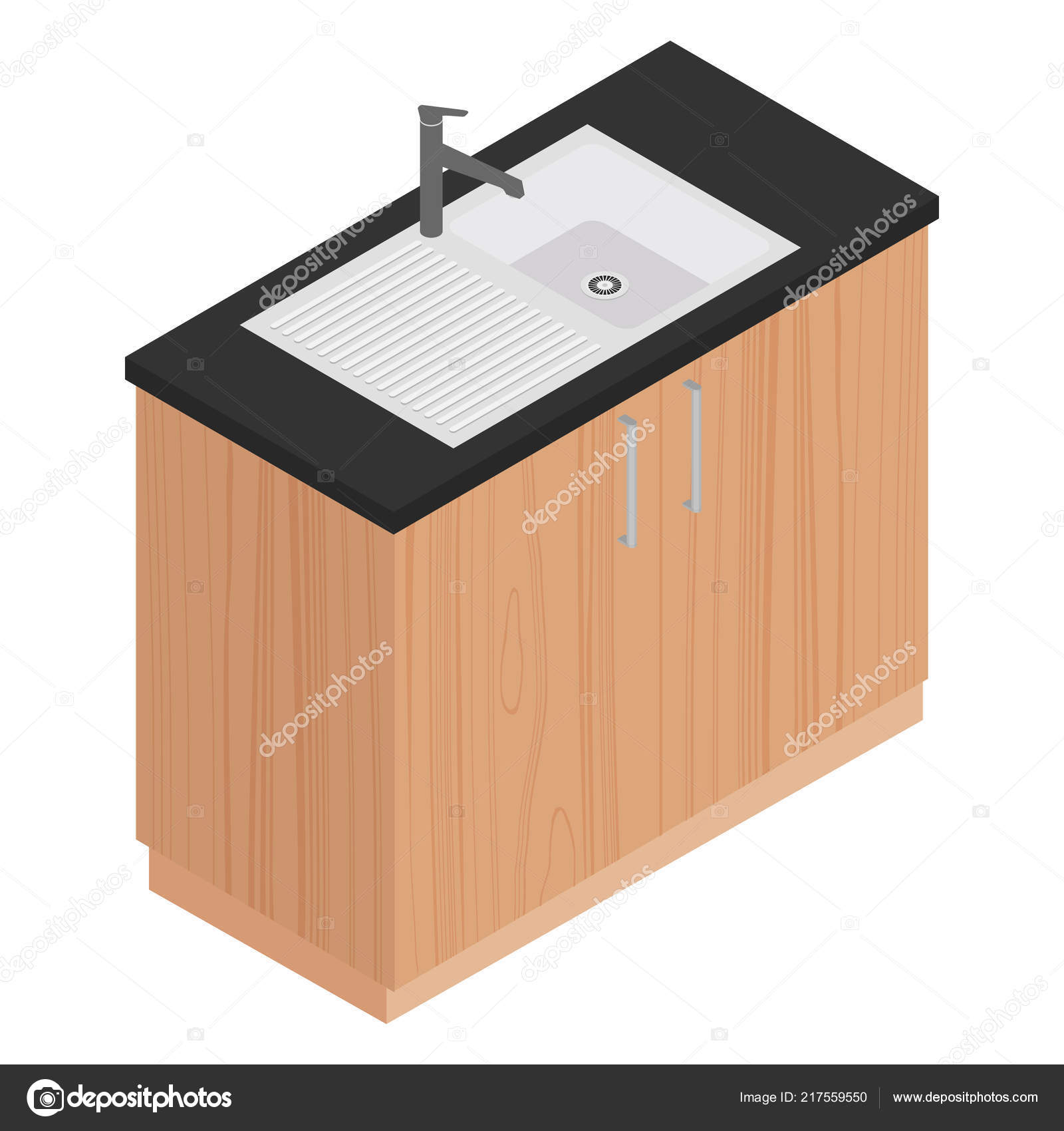 Küche Design Element Isometrische Küchenschrank Mit Spüle Für ...