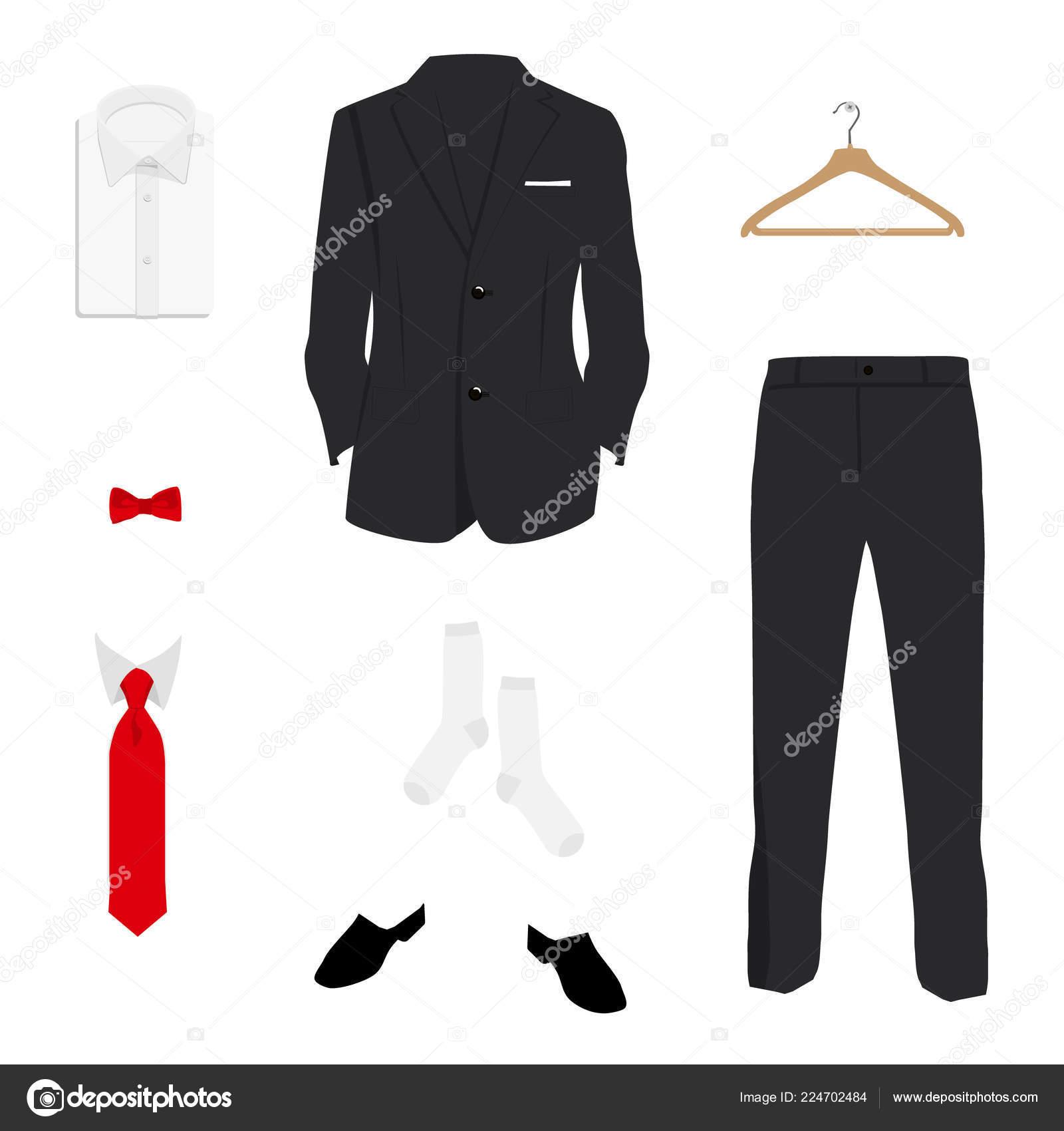 71960a4b Vector Illustration Elegant Men Fashion Suit Uniform Jacket Pants Shirt —  Stock Vector