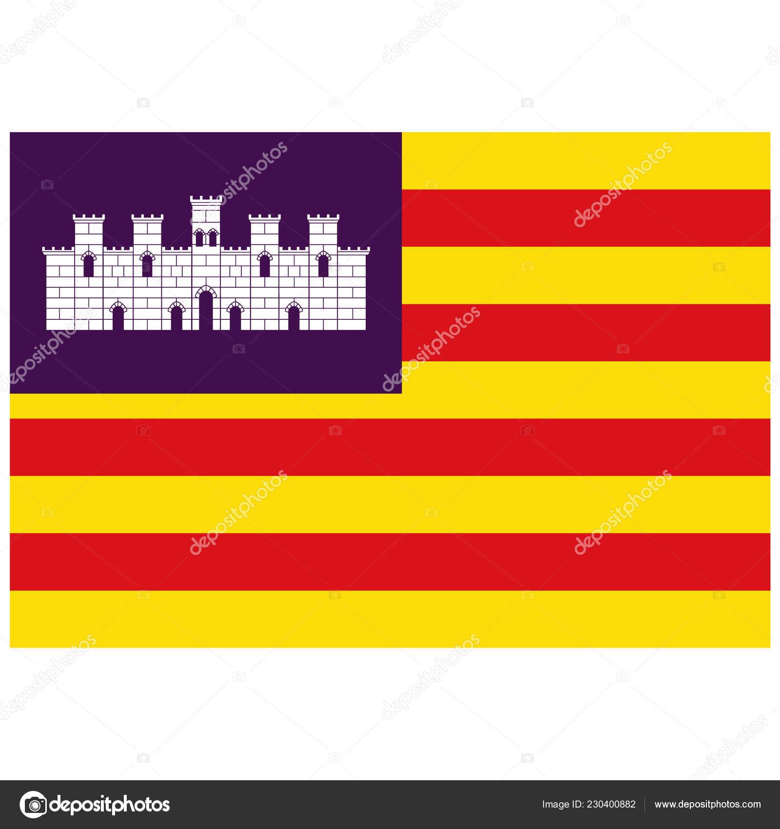 Bandera Del Archipielago Las Islas Baleares Espana Ilustracion