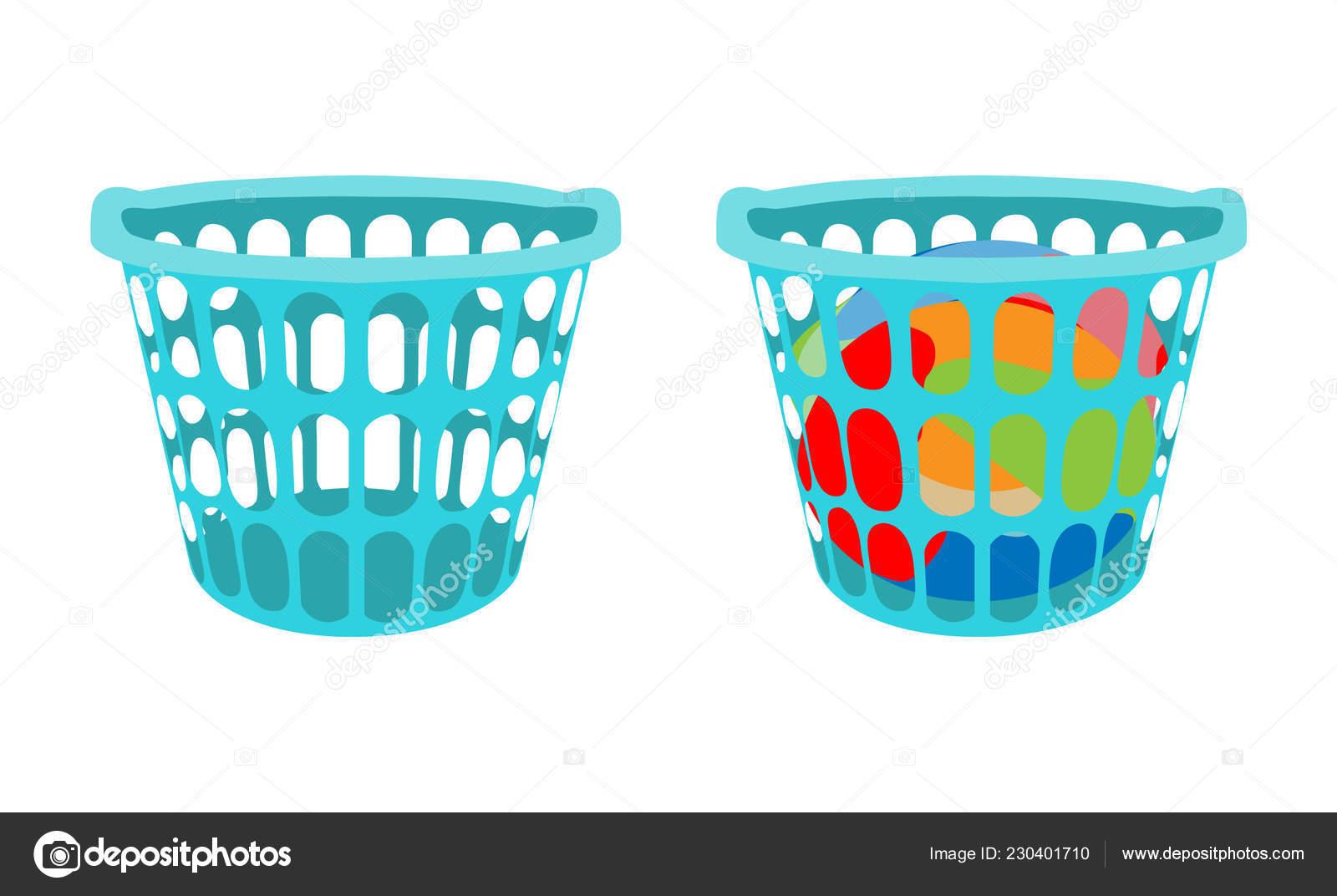 Korb Mit Bettwäsche Wäschekorb Mit Schmutzigen Kleidern Und Leeren