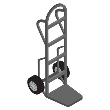 Empty hand truck isolated on white background isometric view. Pallet truck