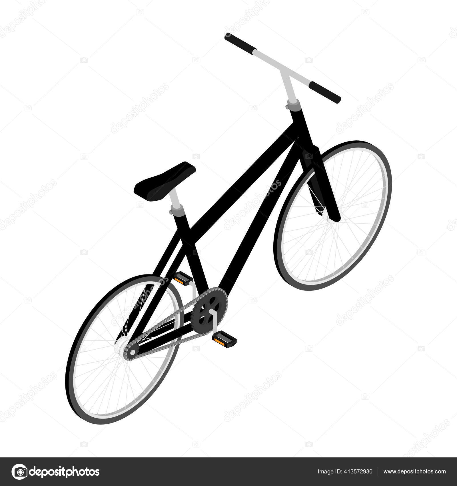 Bicicleta Montanha Preta Com Pneus Offroad Grossos Ciclismo Conceito Transporte Imagem Vetorial De C Viktorijareut 413572930
