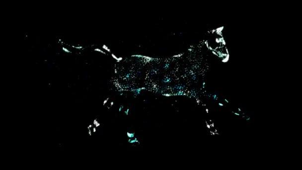 3D renderelés Gyönyörű mágikus kék ló fantasy futás