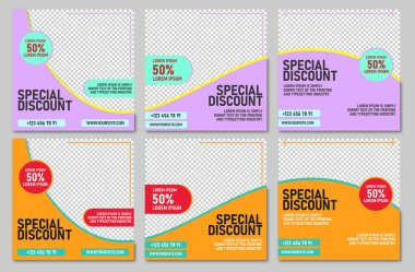 Positivism social media post template. SMM post Marketing agency instagram post template Set of business cards with business people Social media post template icon