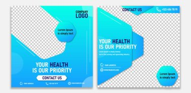 Healthcare post social media template. Positivism social media post template. SMM post Marketing agency instagram post template Set of business cards with business people Social media post template icon