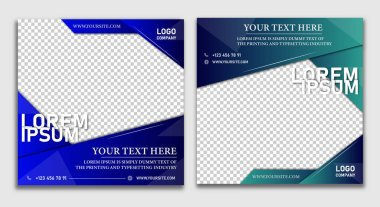 SMM post Marketing agency instagram post template Set of business cards with business people Social media post template. Social media post template icon