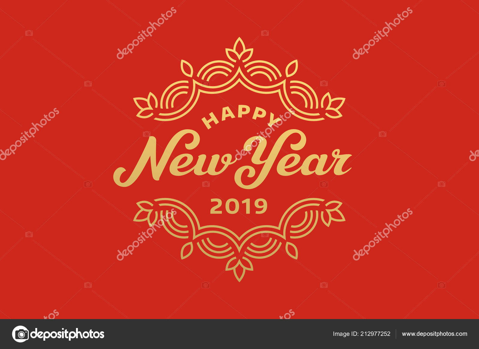Happy New Year 2019 Lettering Greeting Card Design Stock Vector