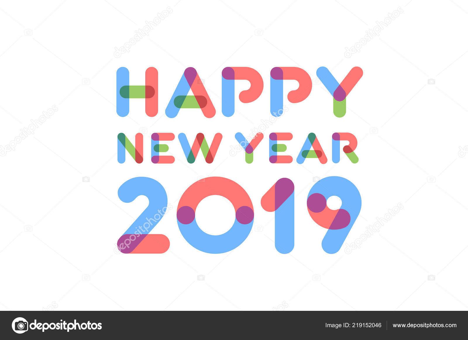 Progettazione Cartolina Auguri Buon Anno 2019 Vettoriali