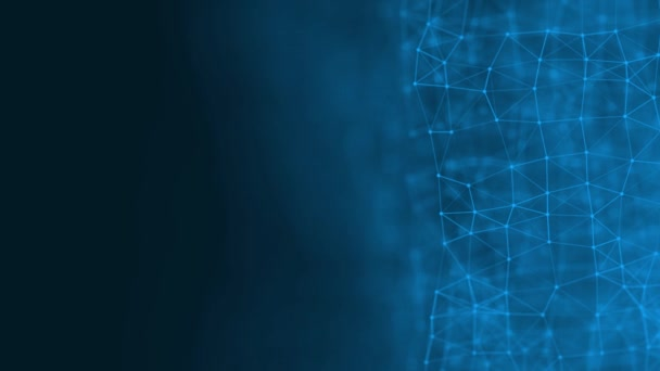 Abstract technology futuristic blue background plexus particle. White glow connection lines and dots. Business Concept. Medical, Science, Communications, Internet, Music, Game. 3d animation. 4K UHD