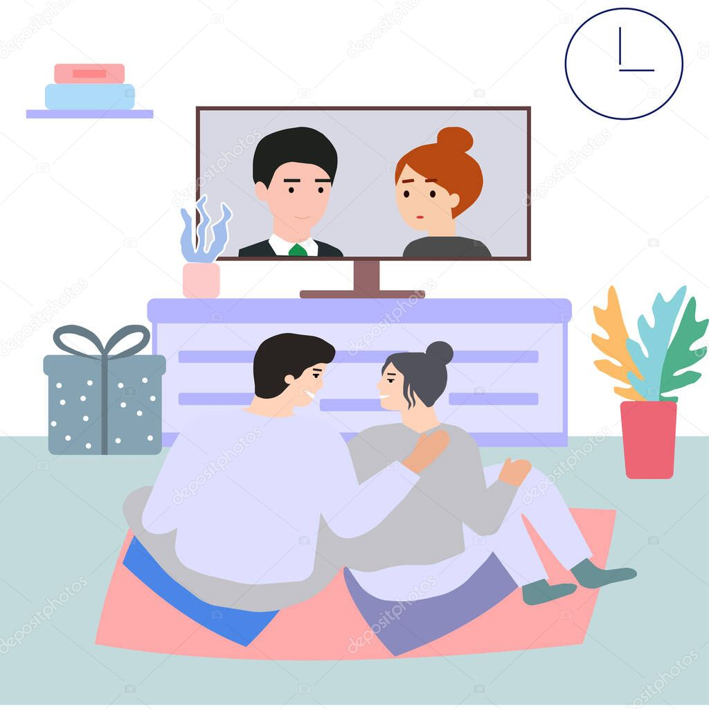 The couple together at home in the evening watching TV, a vector graphics icon