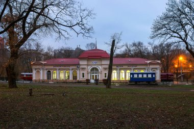 Children's railway in the park named after Lazar Globa, the city of Dnieper, the country of Ukraine