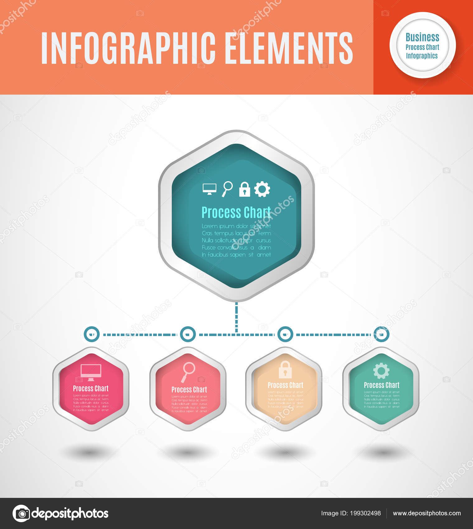 Processo Negócio Gráfico Infográficos Modelo Slide