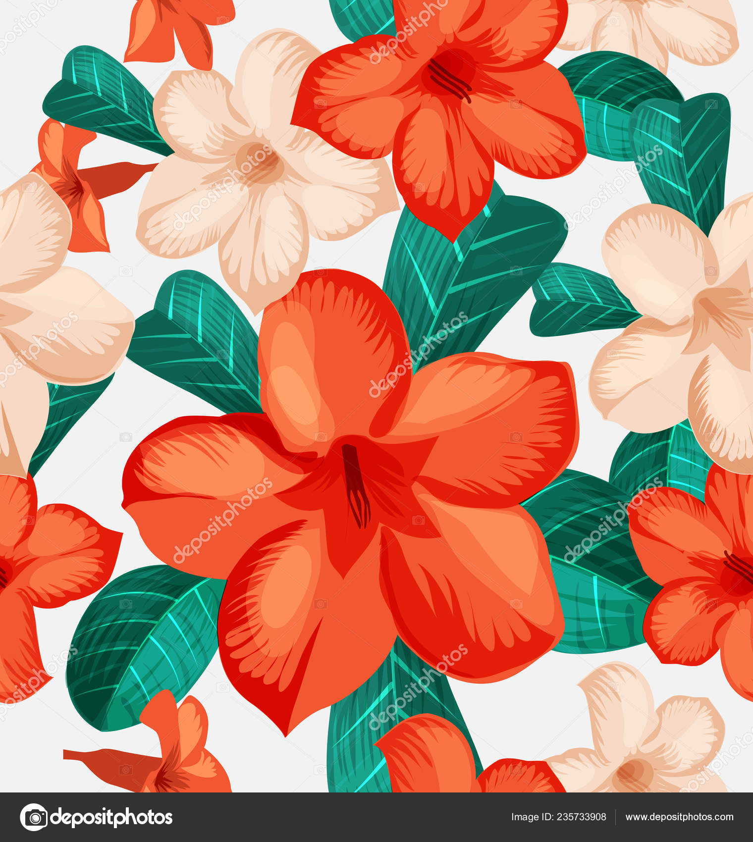 Seamless Floral Pattern Tropical Flowers Foliage Seamless Pattern