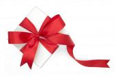 Vánoce a Nový rok, červená dárková krabička top pohled bílé pozadí izolované s výstřižkem cesta