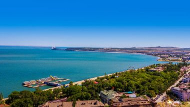 magnificent summer landscape with views of the sea and the Crimean bridge in the city of Kerch from mount Mithridates