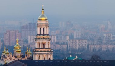 Aerial view of cityscape with Kiev Pechersk Lavra in Kyiv, Ukraine