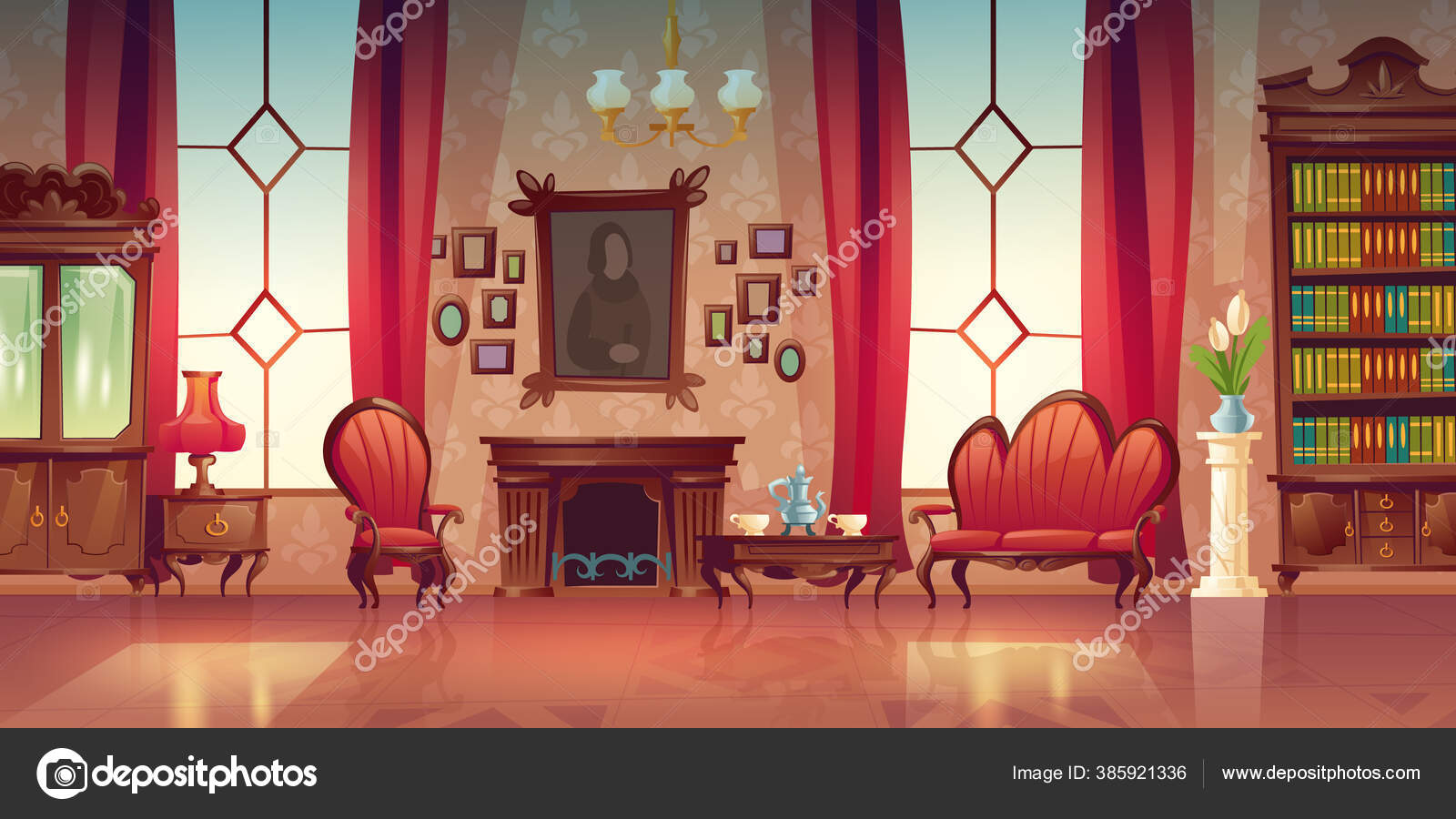 Vector Interior Of Victorian Living Room Vector Image By Klyaksun Vector Stock 385921336