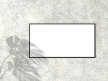1x2 horizontal Black frame for photo or picture mockup on concrete background with shadow of monstera leaves. 3D rendering.